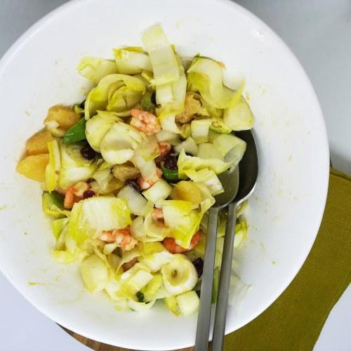 Salade d'endives pamplemousse et crevettes
