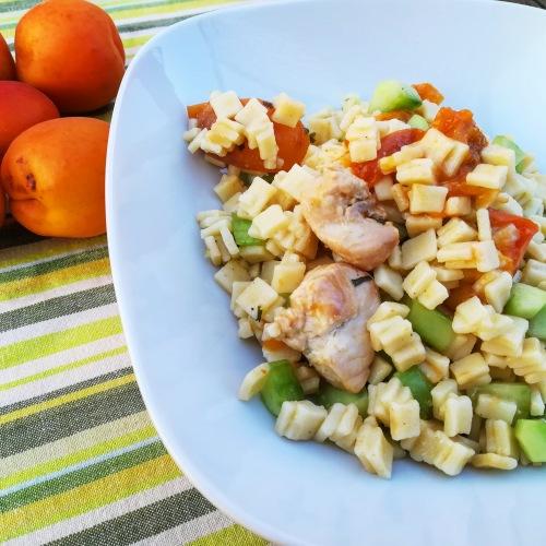 salade de crozets au poulet et à l'abricot