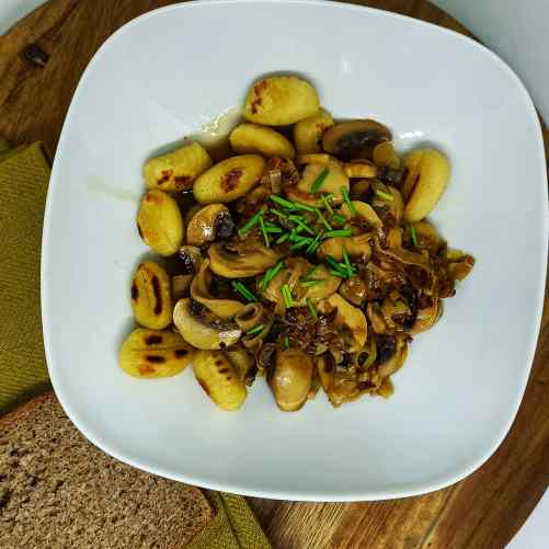Gnocchis champignons poireaux