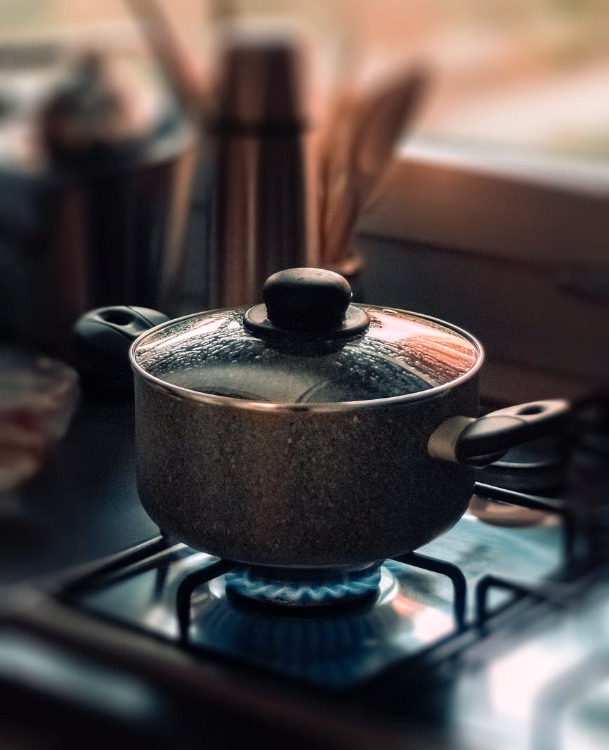 stainless steel cookware on stove